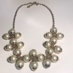 J Crew goldtone and faux pearl bauble necklace